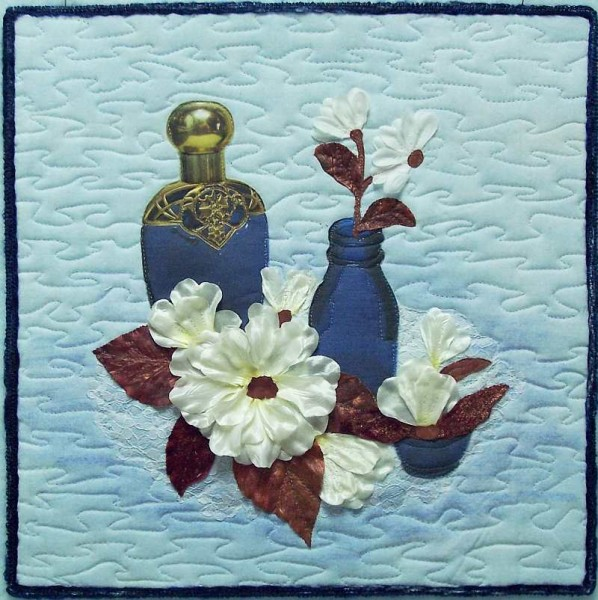 Art Quilt Blue Bottles and Flowers
