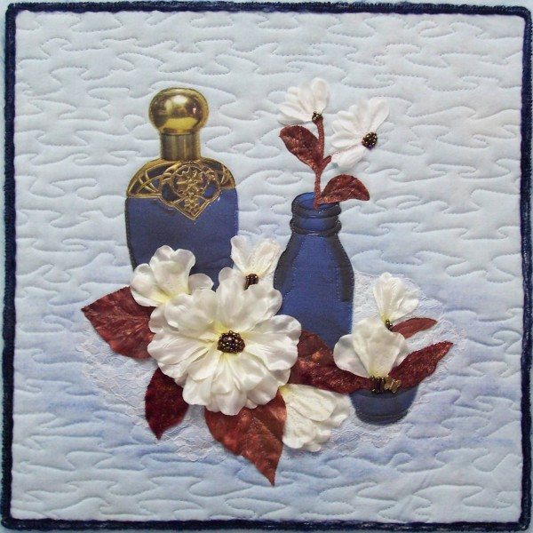 Art Quilt Blue Bottles and Flowers by Sue Andrus, Andrus Gardens