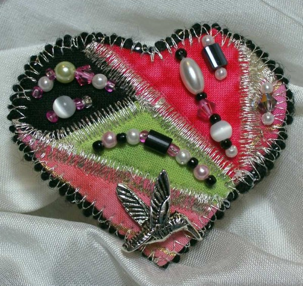Art Quilt Pin Heart in Hot Pink and Lime Green
