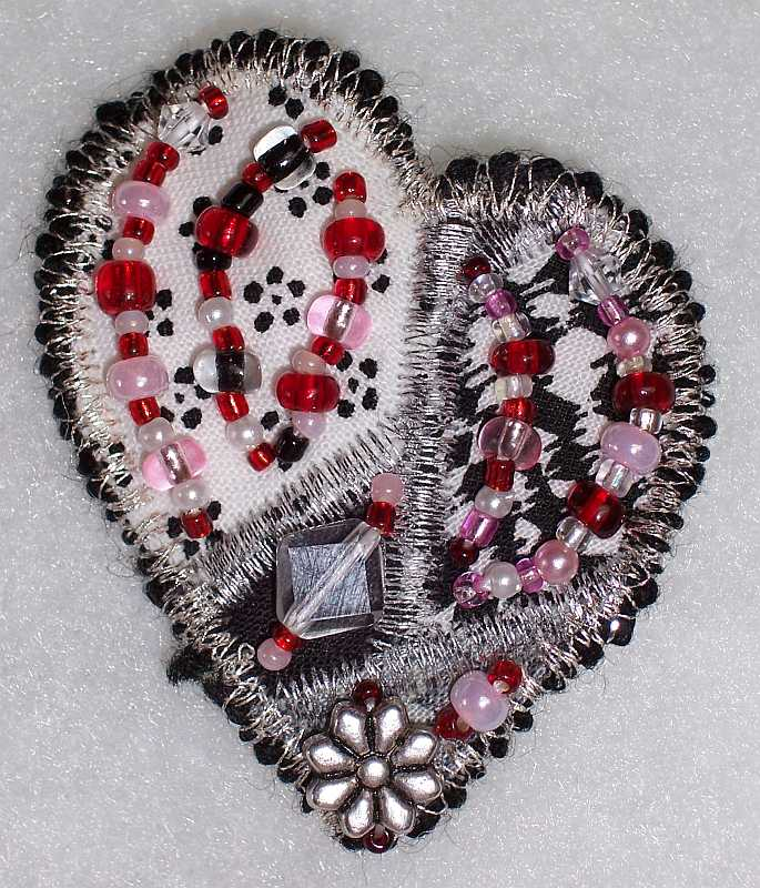Heart Shaped art Quilt Pin