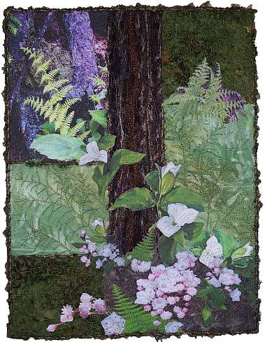 "Art Quilt ""Mountain Laurel and Ferns"" by Sue Andrus, Andrus Gardens"