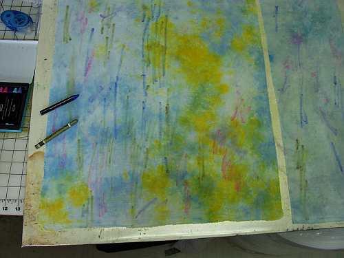 Wax Pastel on Fabric 1