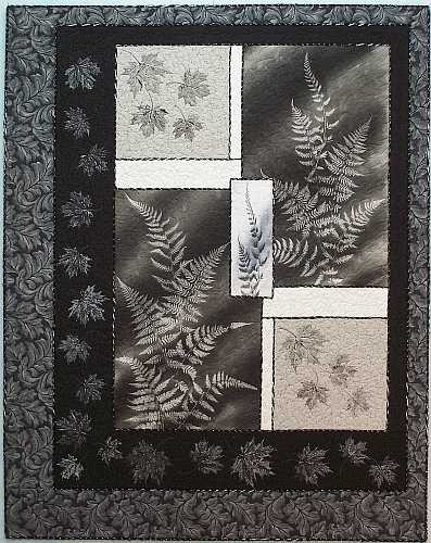 Forest Ferns, black & white Art Quilt by Sue Andrus