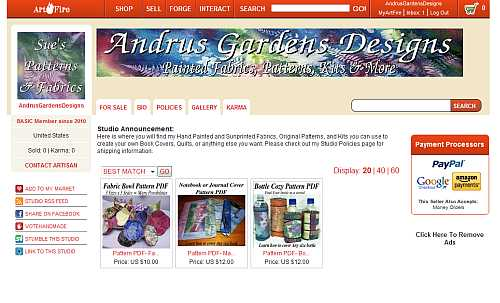 Andrus Gardens Designs Fabric and Pattern Studio on Artfire, Sue Andrus