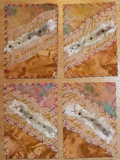 Four Pear Cards with Different Stitching Experiments.