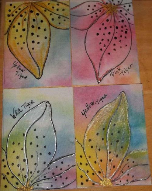 Group of 4 Tiger Lily Cards