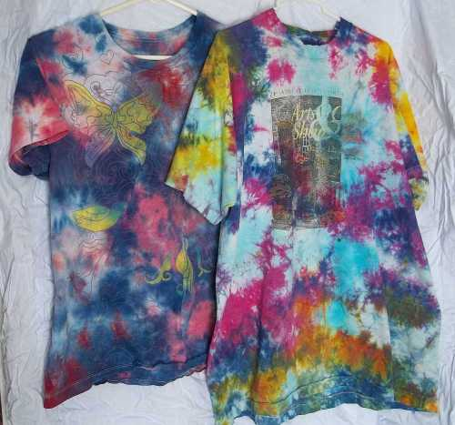 Bright Paint Shirts- Two previously abused shirts given new life.