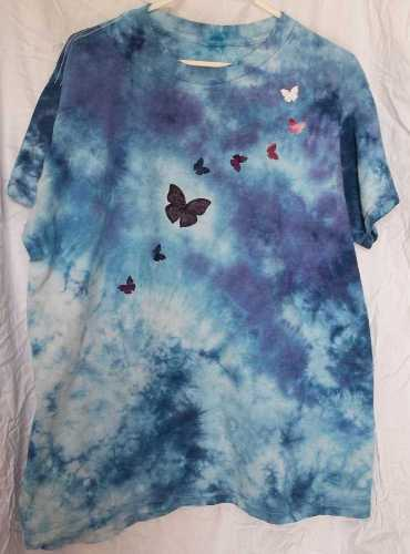 Mixed Blues Shirt with Fabric Butterflies Fused On