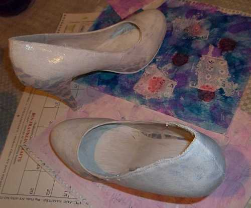 Art Therapy Shoes- Covering up those Leopard spots... The soles made fun stamped patterns...