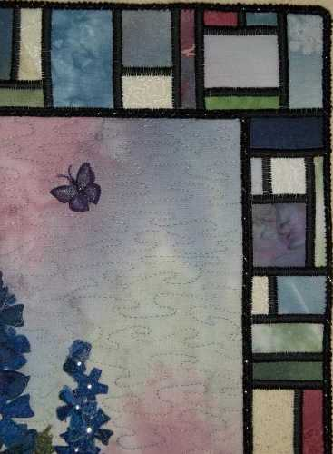 Delphiniums in the Garden Finished Detail 2- Showing Butterfly