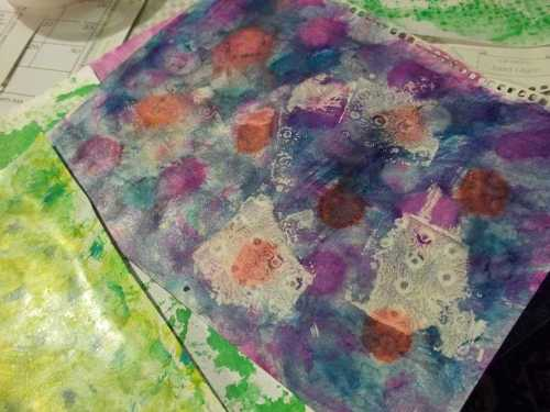 Multicolored Calender Paper with Shoe Stamps