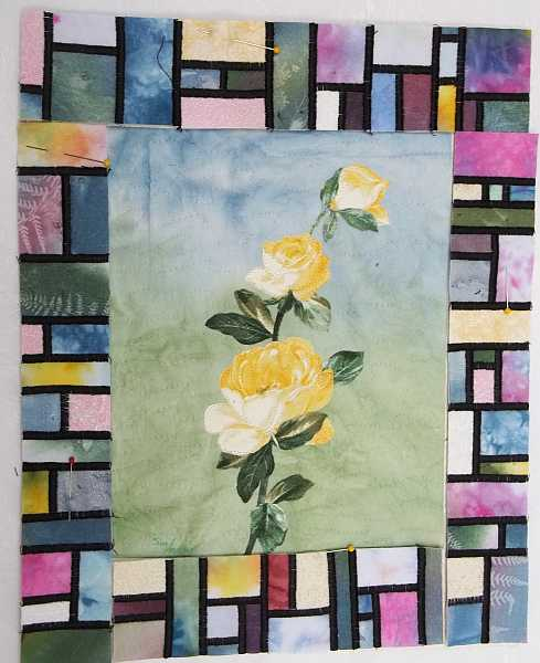 Yellow Rose Nearly Bordered- Ready to be stitched to the Rose panel after I remove the white border.