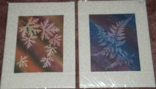 Left- Fall Scented Geranium Sunprint, Right- Lavender Blue Ferns Sunprint- 11″x14″- Reg $60.00, Sale- $42.00 Each, plus shipping