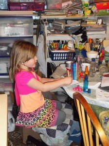 Jenna at the Art Table
