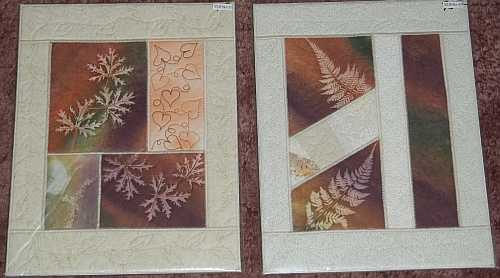 "Left- ""Scented Geranium and Butterfly"", Right- ""Pieced Ferns""- Reg $75.00, Sale- $52.50 each, plush shipping."