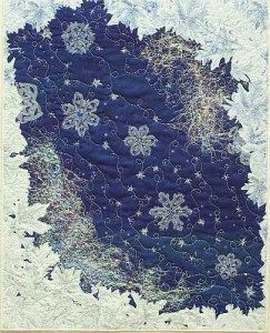 "Frosty Window 1- 16""x20""- Organza snowflakes with angelina and mylar frost, silver metallic quilting, and lots of little bead ""snowflakes""- Reg 300.00, Sale- $210.00"