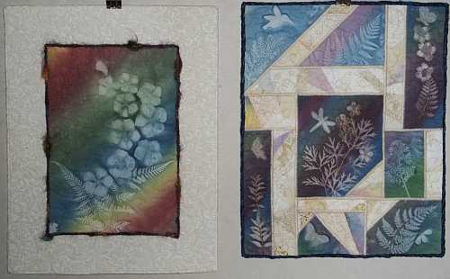 "Left- ""Rainbow Sunprint with Phlox Flowers""- 11""x14""- Reg. $60.00, Sale- $42.00;  Right- ""Scattered Sunprints""- 11""x14""- Reg $75.00, Sale- $52.50 plus shipping"