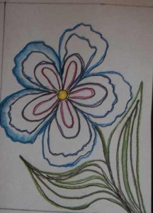 Large Flower Drawing Outlined, Beginning the Blending.