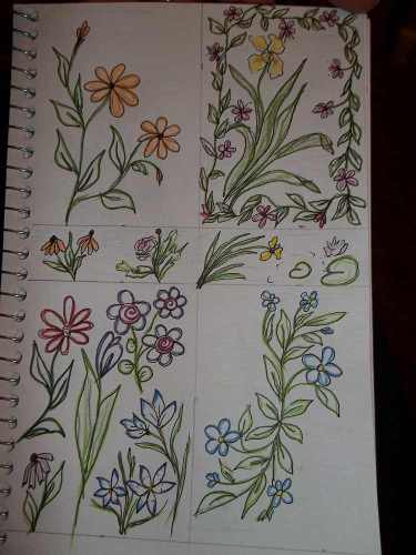 Page One of Drawings Outlined with Inktense