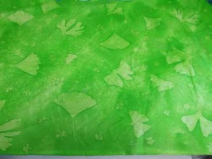 Lime Ginkgo and Phlox Sunprinted Fabric