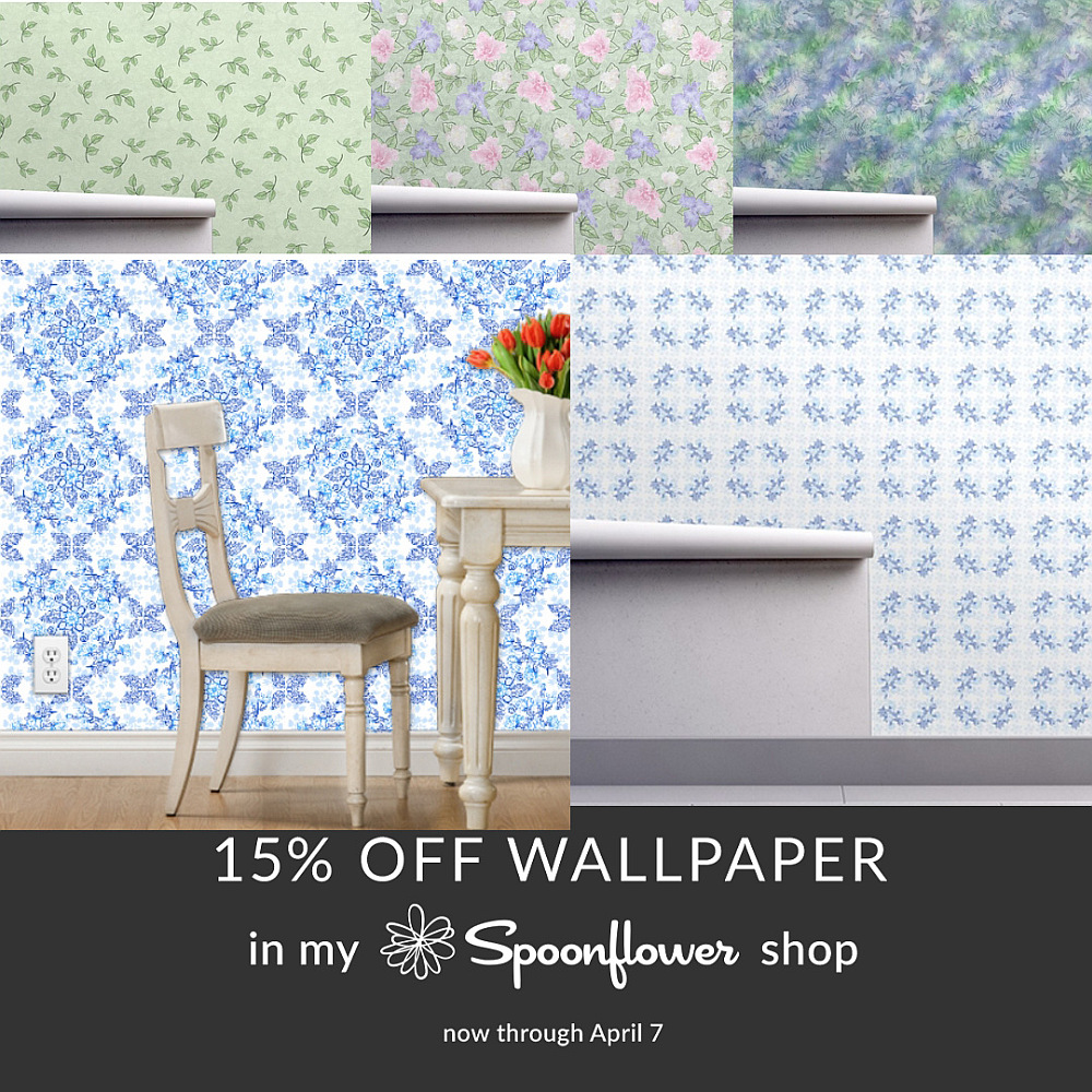 Wallpaper samples by Sue Andrus, AndrusGardens on Spoonflower