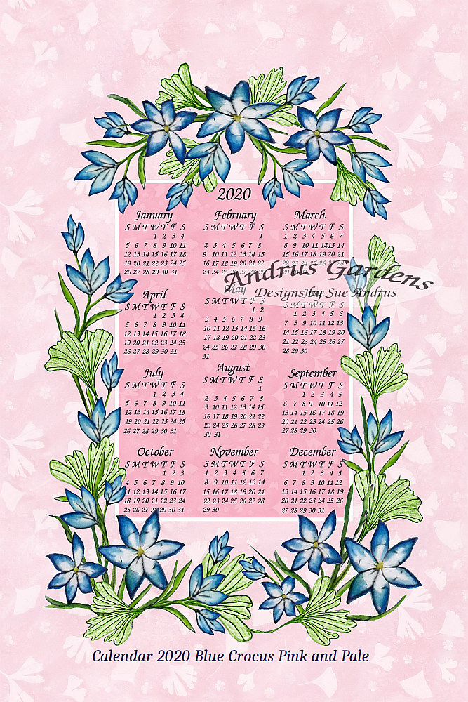 Blue Crocus Pink and Pale tea towel calendar designed by Sue Andrus