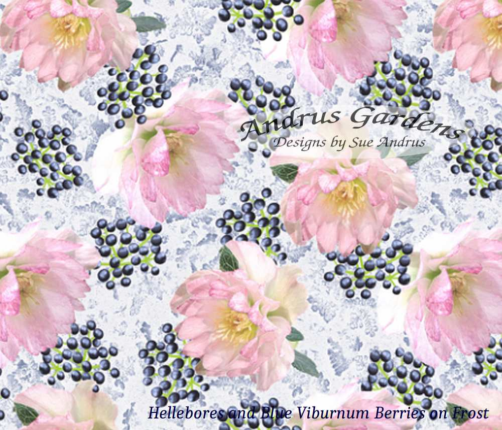 Peppermint Pink Hellebore flowers and Blueberry Viburnum berries on light blue frost fabric design by Sue Andrus, AndrusGardens