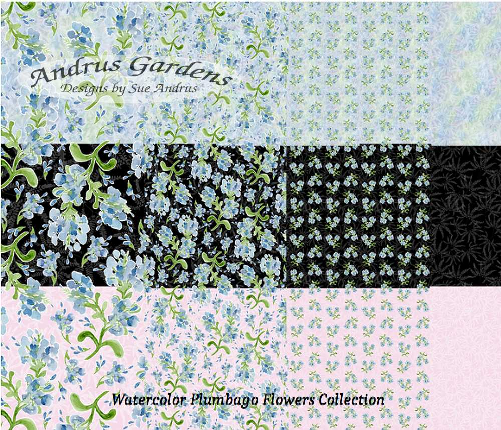AndrusGardens Watercolor Plumbago Flowers Collection on Spoonflower, Sue Andrus