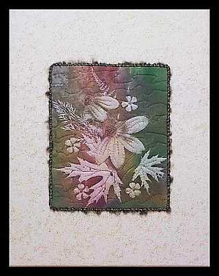 Earthy Rudbeckia Sunprint Canvas Mounted Mini Art Quilt, Sue Andrus Gardens