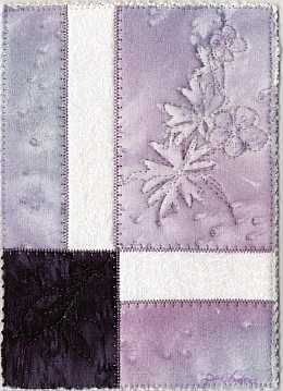 Purple geranium 5x7 Sunprint Mini Quilt, Sue Andrus Gardens