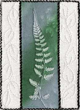 Blue green fern sunprint 5x7 Mini Quilt, Sue Andrus Gardens