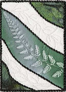 Green fern sunprint mini 5x7 art quilt, Sue Andrus Gardens