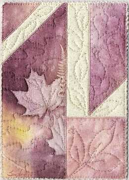5x7 Peach, rose Maple Sunprint with vine quilting Art Quilt, Sue Andrus Gardens