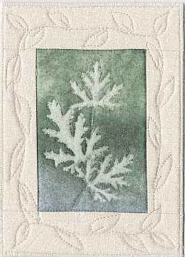Sparkle Blue green Geranium Sunprint Mini Quilt, Sue Andrus Gardens