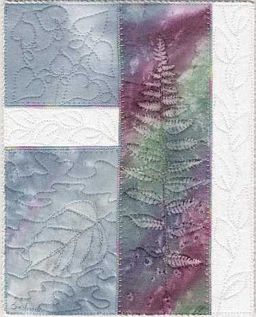 Blue with rainbow fern Sunprint Mini Art Quilt, Sue Andrus Gardens