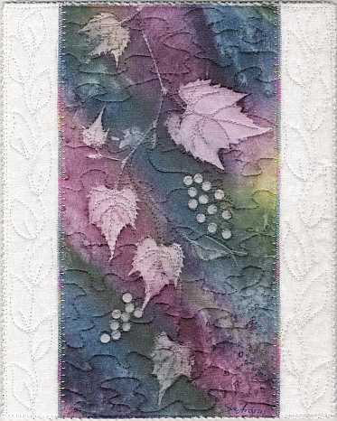 Rainbow Grape Vine Sunprint Mini Art Quilt, Sue Andrus Gardens