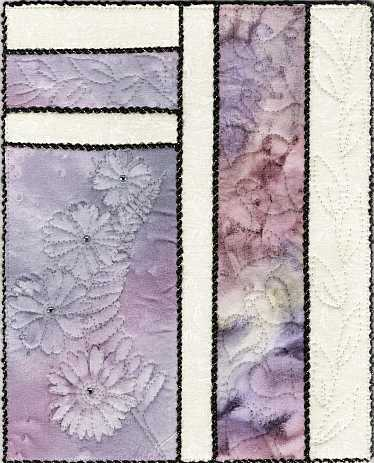 Lavender Daisies with Fern 8x10 Sunprint Mini Art Quilt, Sue Andrus Gardens