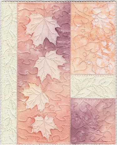 Peach, rose Maples sunprint 8x10 Mini Art Quilt, Sue Andrus Gardens