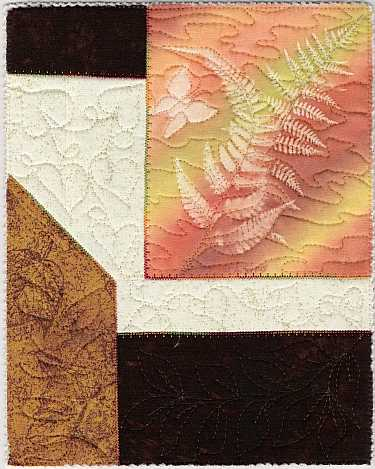 "Orange, Gold, Brown ferns and butterfly sunprint 8x10"" Mini Art Quilt, Sue Andrus Gardens"