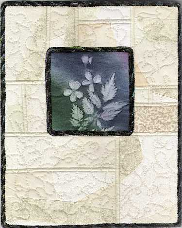 Deep blue, green, Astilbe and Plumbago with crazy patch 8x10 Mini Art Quilt, Sue Andrus Gardens