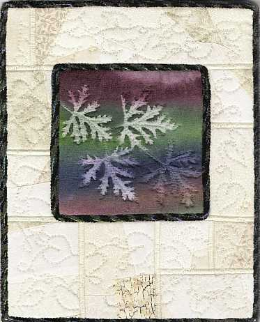 Deep Rainbow Scented Geranium with crazy patch 8x10 Mini Art Quilt, Sue Andrus Gardens