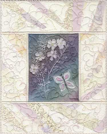 Painted Butterfly and Flowers 8x10 Mini Art Quilt, Sue Andrus Gardens