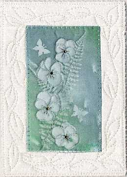 5x7 Blue-green Viola Sunprint with crystals Art Quilt, Sue Andrus