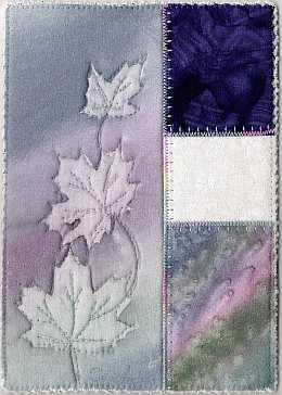 5x7 Lavender Maple Sunprint with deep blue Art Quilt, Sue Andrus