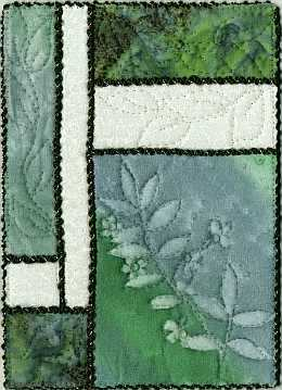 5x7 Geen, blue Leaves Sunprint with deep green, crystals Art Quilt, Sue Andrus