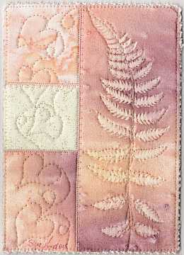 5x7 Peach, rose fern Sunprint with vine quilting Art Quilt, Sue Andrus Gardens