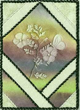 5x7 Beige, mauve, green flower, butterfly  Sunprint with  pearl Art Quilt, Sue Andrus